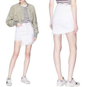 GRLFRND White Distressed Asymmetrical Skirt